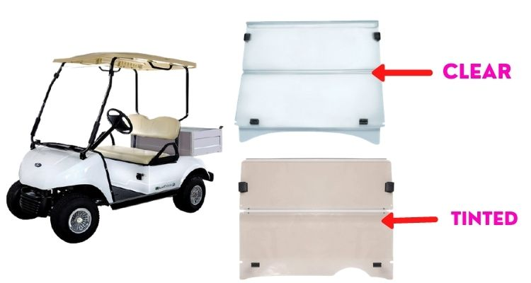 Tinted or clear golf cart windshield
